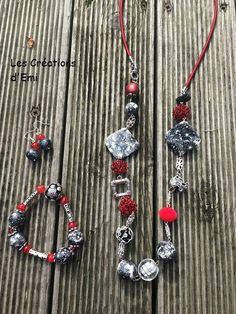 parure fimo, sautoir fimo, bracelet élastique, perles fil alu rouge, perle capsules nespresso, emicreation