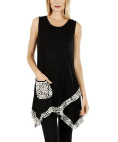 Lily Black & White Floral-Lace Sidetail Tunic | zulily