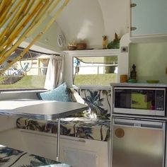 Isn't this great. She used our Waikiki Natural fabric for the inside of her vintage camper.  Fabric from: BarkclothHawaii.com