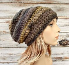 Penelope Puff Stitch Slouchy Beanie Hat in Grey and Olive Green Medley