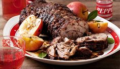 Cider-braised pork neck #recipe. The apples become soft and create little apple sauce bombs to serve with the pork.