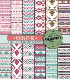 ETHNIC Digital paper trival patterns native desings by seanorway