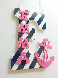 Navy Nursery  Anchor Decor  Baby Name  Nautical by LaurenAnnaLei, $16.50