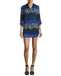 TBVQM Halston Heritage Long-Sleeve Printed Shirtdress, Wisteria