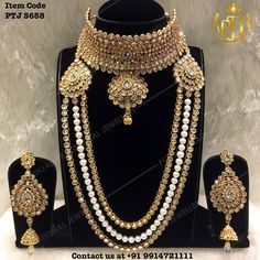 "Punjabi Traditional ""Gold Plated Jhodha Choker Set With Long Mala""(Next to…"