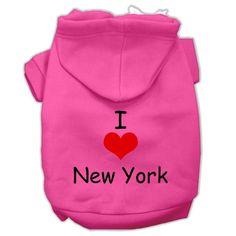 I Love New York Screen Print Pet Hoodies Bright Pink Size Sm (10)