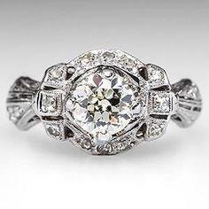 1920's Diamond Art Deco Engagement Ring w/ Sapphire Accents Platinum