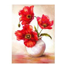 DIY Full Drill Diamond Painting Cross Stitch Vases and flowers Printed Draw Picture Round Rhinestones Embroidery Color By Numbers, 5d Diamond Painting, Creative Activities, Art Plastique, Your Paintings, Canvas Frame, Red Flowers, Diy Painting, Art Forms