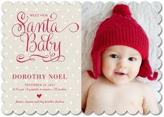 Dotted Baby - Winter Girl Birth Announcements - Pinkerton Design - Bright Red - Red : Front