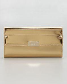 V1DAJ Jimmy Choo Reese Metallic Leather Wallet Clutch Bag, Gold