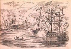 Xilografía alusiva en cabecera de dos navíos bombardeando una ciudad