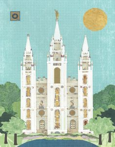 Salt+Lake+City+LDS+Temple+11+x+14+PRINT+by+AcorntoZebraCollage,+$22.00