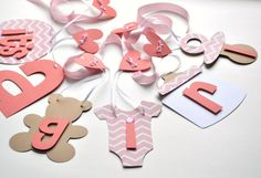 Baby shower decorations coral chevron it's a girl by ParkersPrints