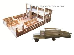 Wooden Toy Stockyard WITH Loft and Truck with Ramp GIFT SET