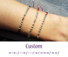 Custom Morse Code Bracelet, Dainty Bracelet, Morse code bracelet, Morse code Jewelry, Personalized Jewelry, Tie On bracelet, Beaded Bracelet by GLIAJEWELRY on Etsy https://www.etsy.com/listing/266173791/custom-morse-code-bracelet-dainty