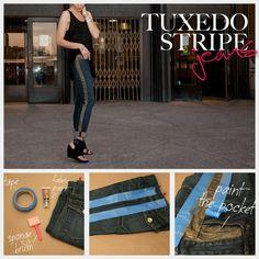 Tuxedo Stripe Jeans DIY : DIY Fashion by Trinkets in Bloom