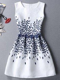 #yoshop.com - #yoshop Ladylike Round Neck Sleeveless Leaves Print Pleated Women's Dress - AdoreWe.com