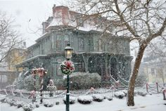 Beautiful home in snowy Cape May at Christmastime. Growing up going to the Wildwoods, NJ, this picture is more special because we often go to Cape May for an afternoon on our visits. Beautiful Homes, Beautiful Places, Beautiful Pictures, Seaside Resort, Cape May, Winter Beauty, Victorian Christmas, England Christmas, Winter Scenes
