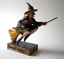 """Jim Shore Halloween Witch Flying on Broom with Kitten ~ """"Swept Away"""" ~ 2006"""