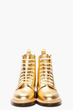 "Dr. Martens Metallic Gold 1460 8-eye ""made In England"" Mie Boots for women 