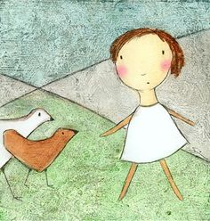 PRINT  Girl with Chickens by carlasonheim on Etsy, $20.00