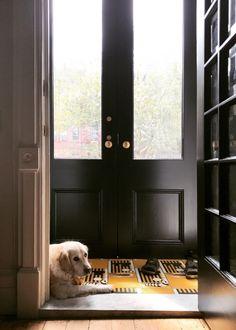 Architect Jess Thomas's Brooklyn townhouse tiled entry. Kate Sears photo.
