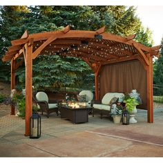 The pergola kits are the easiest and quickest way to build a garden pergola. There are lots of do it yourself pergola kits available to you so that anyone could easily put them together to construct a new structure at their backyard. Vinyl Pergola, Pergola Canopy, Outdoor Pergola, Backyard Pergola, Pergola Shade, Backyard Landscaping, Gazebo, Pergola Lighting, Cheap Pergola