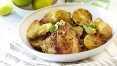 A pot roast for the family is a must-do meal and this delicious chicken and lime dish will do just the trick. Lime Chicken, Roasted Chicken, Baked Potato, Sweet Potato, Potato Wedges, Limes, Yum Yum Chicken, Pot Roast, Slow Cooker Recipes