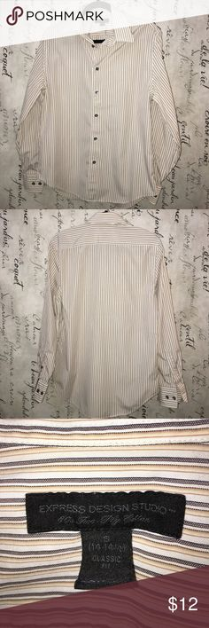 Express yellow & black stripe button down on white Express yellow & black stripe button down on white in great condition. No stains, rips or tears. Express Shirts Casual Button Down Shirts
