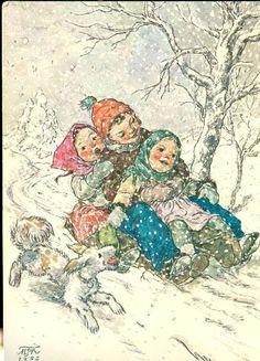 Czech christmas card Vintage Greeting Cards, Vintage Christmas Cards, Christmas Art, Vintage Postcards, Christmas Decorations, Winter Images, Yule, Vintage Children, Illustrators
