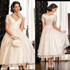 Find a Simple Vintage Short Wedding Dresses 2016 V Neck Short Sleeve Lace Pleat Tea Length Wedding Dress Casual Satin Bridal Gowns !