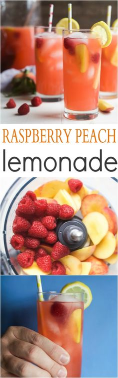 A Homemade Raspberry Peach Lemonade Recipe made with fresh raspberries and peaches for the ultimate refreshing drink to cool you down this summer!   joyfulhealthyeats.com #weightlosstips