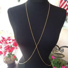 Gold Dainty Body Chain Jewelry Harness Necklace Bikini Belly Shoulder