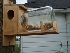 Handmade Cedar Squirrel Feeder With Gallon Jar