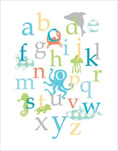 Baby nursery wall decor Ocean creatures alphabet in by fancyprints, $24.00