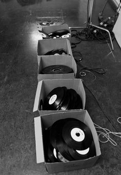 Boxes of vinyl from behind-the-scenes at Benga's video