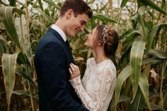 We can't get enough of these romantic wedding portraits in a corn field by  Jordan Voth