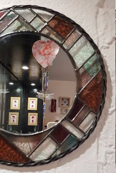 Your place to buy and sell all things handmade Stained Glass Mirror, Glass Mirrors, Making Stained Glass, Mirror Mosaic, Stained Glass Panels, Stained Glass Projects, Glass Art, Yellow Mirrors, Hanging Art