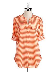 Orange and white striped button up