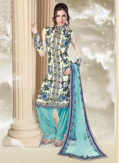Cream Aari Embrodered Salwar Suit