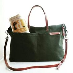 Waxed Canvas Weekender Tote Bag Army Green waxed tote forest
