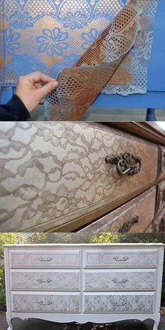 Tolles DIY! Man nehme eine alte Gardine und Goldspray, schon bekommen deine Möbel einen neuen Look im Shabby Chic!