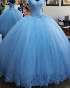 New 2020 Quinceanera Dresses Appliques Lace Corset Bodice Prom Gowns Sweet 16 Dress . Fashion Women dresses from top store Blue Ball Gowns, Tulle Ball Gown, Ball Gowns Prom, Tulle Prom Dress, Ball Dresses, Quince Dresses, Long Dresses, Xv Dresses, Evening Dresses