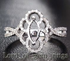 Marquise Cut 14K White Gold .25CT Diamond Ring Settings