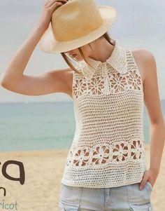Grace y todo en Crochet: Short sleeve collared blouse .....Blusa manga cort...