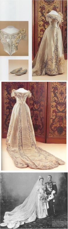 Historic Wedding Dress - Queen Wilhelmina of The Netherlands, She marred Duke Henry of Mecklenburg-Schwerin in Antique Wedding Dresses, New Wedding Dresses, Victorian Dresses, Nassau, Queen Wedding Dress, Style Royal, Lace Ball Gowns, Royal Dresses, Fairy Dress