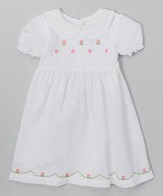 White Flower Puff-Sleeve Dress - Toddler