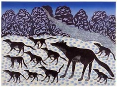 Proud Wolf Pack  © Kenojuak Ashevak    Date made: 1990  Materials: lithograph on paper  Collection: Collection of the West Baffin Eskimo Co-Operative Ltd., on loan to the McMichael Canadian Art Collection  Printed by: Pitseolak Niviaqsi (1947-)