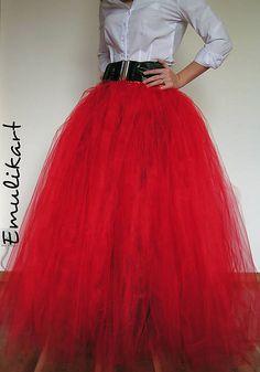 emulikart / Červená glamour tylová sukňa nielen na fotenie