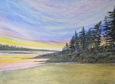 Bailey Island, Maine Original Watercolor Painting, Home Decor Gift Wedding Sunset Coastal Ocean New England Pine Tree Seascape Rocks Sky